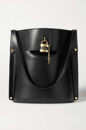 Aby Smooth And Textured-leather Tote - Black