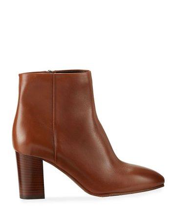 Aquatalia Florita Leather Zip Booties   Neiman Marcus