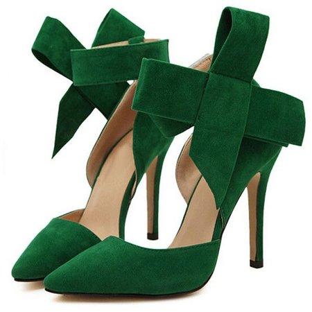 Choies Green Detachable Bow Embellishment High Heeled Pumps ($34)