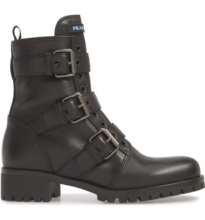 Prada Triple Buckle Combat Boot (Women) | Nordstrom