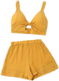 yellow shorts croptop top clothes clothing...