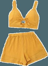 yellow shorts croptop top clothes clothing...
