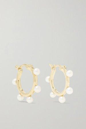 Mateo | 14-karat gold pearl hoop earrings | NET-A-PORTER.COM