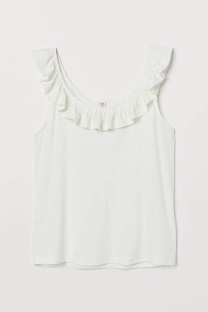 Tank Top with Flounce - White