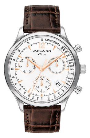 Heritage Circa Chronograph Leather Strap Watch, 43mm | Nordstrom