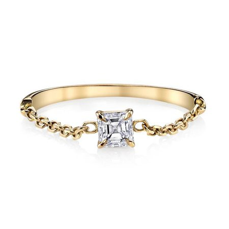 ASSCHER DIAMOND CHAIN RING - Anita Ko
