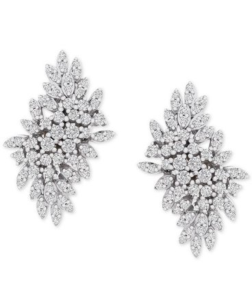 Wrapped in Love Diamond Cluster Statement Earrings (1 ct. t.w.) in 14k White Gold, Created for Macy's & Reviews - Earrings - Jewelry & Watches - Macy's