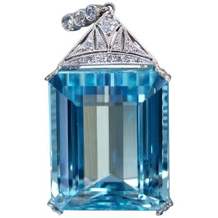 Art Deco Aquamarine Diamond Necklace For Sale at 1stdibs