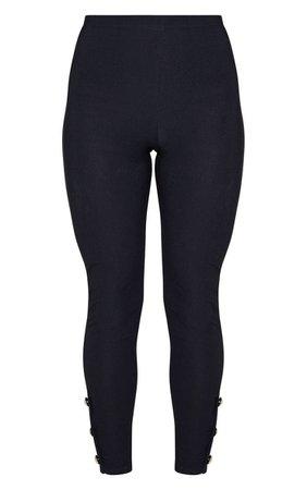Black Button Hem Detail Legging | PrettyLittleThing USA