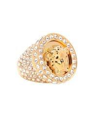 Versace Crystal-embellished Medusa Ring in Metallic