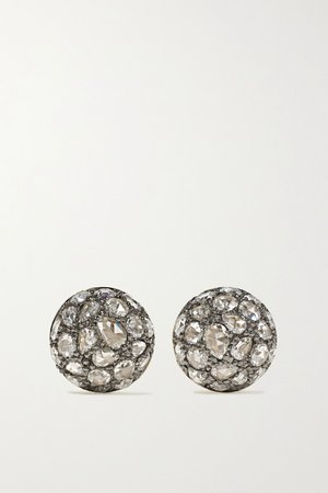 Gold Collection sterling silver-topped 18-karat gold diamond earrings | Fred Leighton | NET-A-PORTER