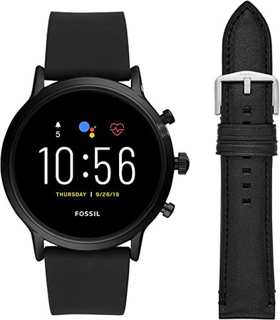 Fossil Gen 5 Carlyle HR Heart Rate Stainless Steel and Silicone Touchscreen Smartwatch, Black & 22mm Leather Watch Band, Black: Watches