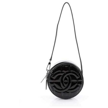 Chanel Vintage Chocolate Bar Round Shoulder Bag Quilted Patent Small