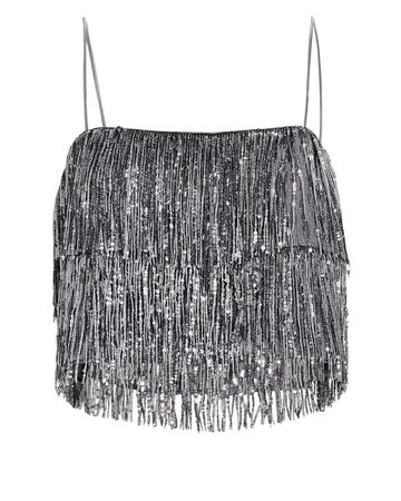 Saylor Melora Sequin Fringed Crop Top | INTERMIX®