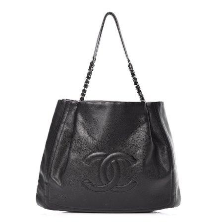 CHANEL Caviar CC Timeless Shoulder Bag Black 396642