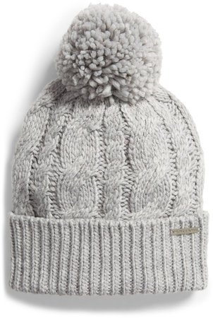 Pompom Cable Knit Beanie