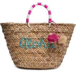 Pompom-embellished Embroidered Woven Straw Tote