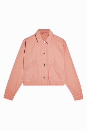 CONSIDERED Pink Boxy Crop Shacket | Topshop