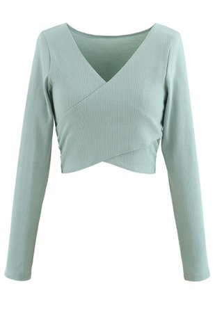 Crisscross Front Long Sleeves Ribbed Top in Mint - Retro, Indie and Unique Fashion