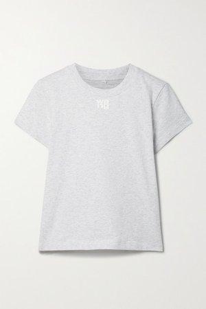 Printed Cotton-jersey T-shirt - Light gray