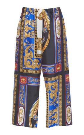 Versace Silk Twill Wide Leg Pant