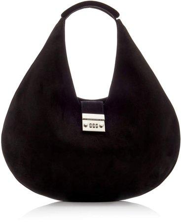 Brandon Maxwell Large Lock Suede Hobo Shoulder Bag