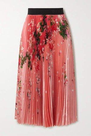 Pleated Floral-print Satin Midi Skirt - Pink