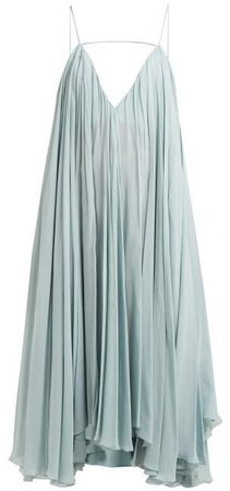 Bellezza Low Back Chiffon Midi Dress - Womens - Light Blue