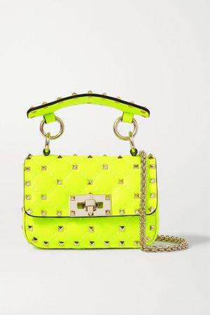 Yellow Valentino Garavani Rockstud Spike micro quilted neon leather shoulder bag | Valentino | NET-A-PORTER