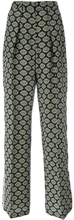 eyes print straight trousers