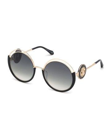 Roberto Cavalli Round Cutout Metal Sunglasses | Neiman Marcus