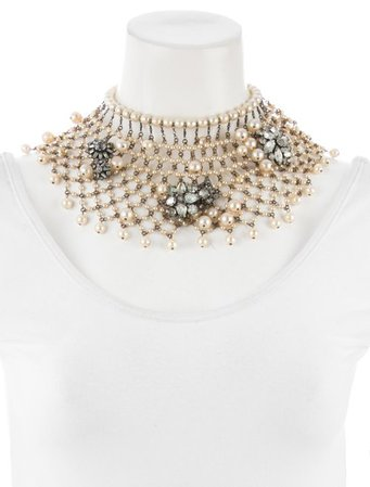 Erickson Beamon Serious Drama Faux Pearl & Crystal Choker - Necklaces - ERK21080 | The RealReal