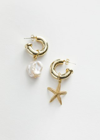 Mismatch Pearl Star Hoop Earrings - Gold - Hoops - & Other Stories