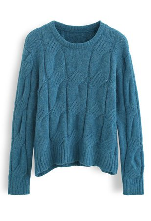 Fuzzy Crew Neck Cable Knit Sweater in Teal - Retro, Indie and Unique Fashion