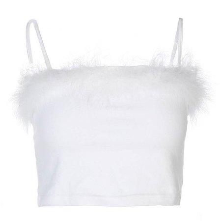 White Fuzzy Crop Top
