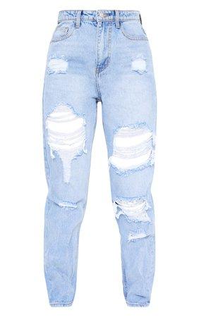Plt Light Bleach Wash Distressed Mom Jeans | PrettyLittleThing