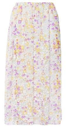 Gathered Printed Devore-silk Midi Skirt