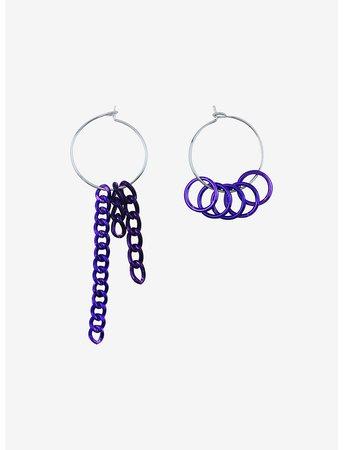 Purple Chains Mismatch Hoop Earrings