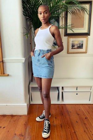 Mid Stone Denim Paperbag Mini Skirt