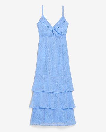 Clip Dot Ruffle Wrap Front Midi Dress | Express