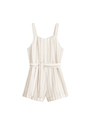 MANGO Linen-blend striped jumpsuit