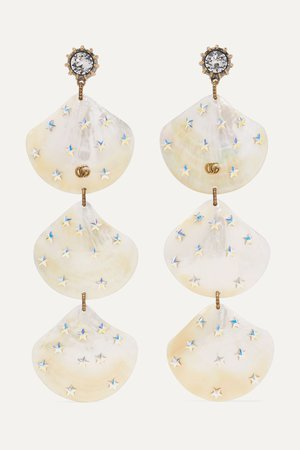 Gold Gold-tone, pearl and crystal clip earrings | Gucci | NET-A-PORTER