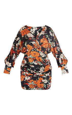 Black Floral Satin Plunge Bodycon Dress | PrettyLittleThing USA