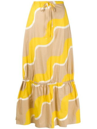Chinti And Parker Flared Wave-Print Skirt SS02 Neutral | Farfetch