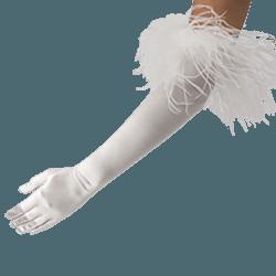 White feather gloves