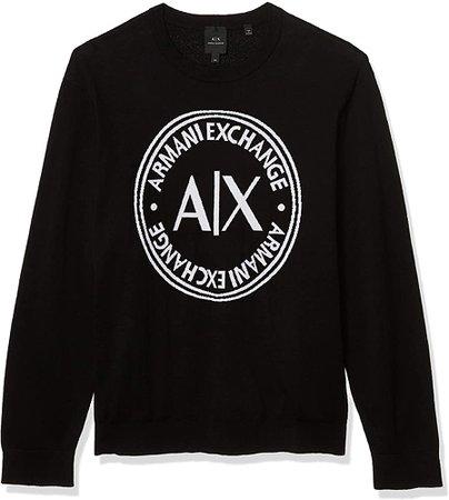 A X Armani Exchange Men's Classic Circle Logo Crewneck Knit Pullover Sweater, Black, M at Amazon Men's Clothing store