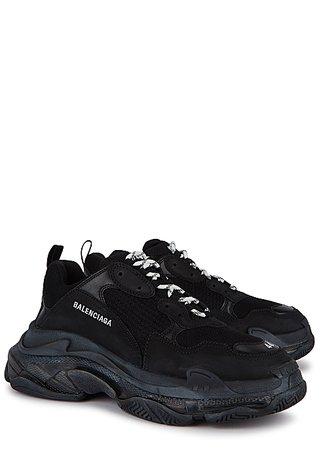 Balenciaga Triple S black mesh and nubuck sneakers - Harvey Nichols