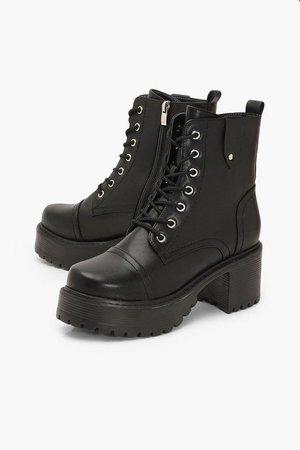 Loop Back Block Heel Lace Up Hiker Boots | Boohoo