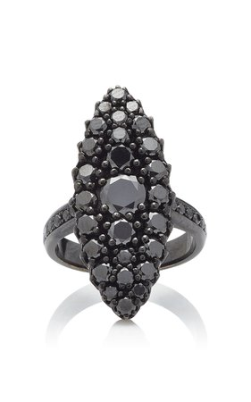 Colette Jewelry 18K Oxidized Gold Black Diamond Ring