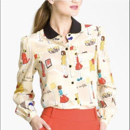 Kate Spade Retro Print Top Shirt